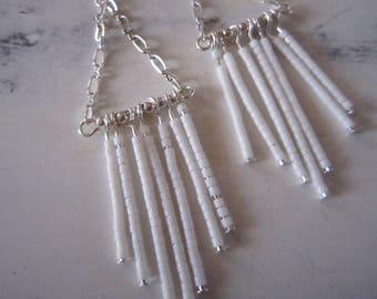 Miyuki white dangle earrings