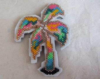 Tropical Palm tree with miyuki beads brooch