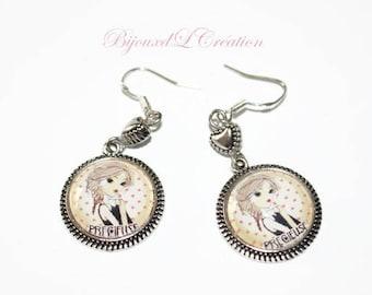 "Custom ""Precious"" glass cabochon earrings"