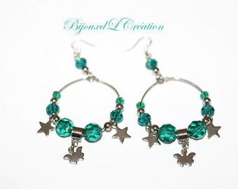 Creole earrings green emmeraude and stainless steel