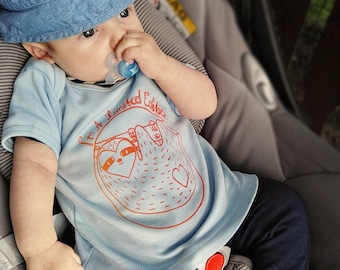 """Baby Boy Shirt Blue Organic Cotton with funny Sloth """"I'm a limited Edition"""", Babyshower Boy, Baby Gift for Boy, Funny Animal Shirt Print"""