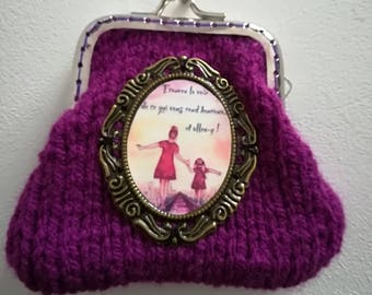 Burgundy purse and Medallion woman and girl