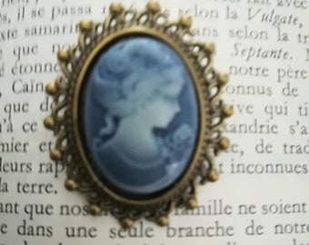Grey blue cameo brooch with