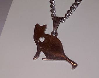 Stainless Steel Sitting Cat Necklace
