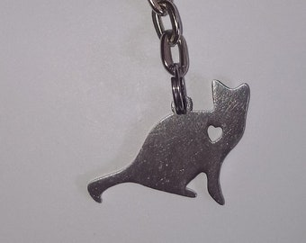 Stainless Steel Sitting Cat Key Ring