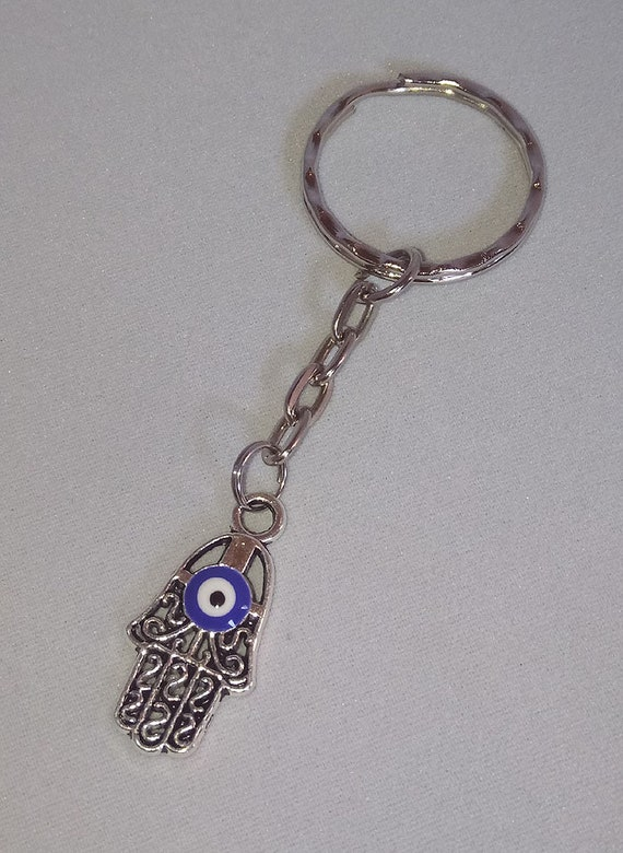 Great Gift for Protection Silver Hamsa and Enamel Key Ring