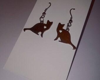 Stainless Steel Sitting Cat Earrings