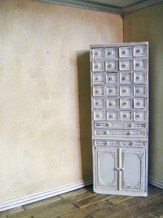 Fine 1:12 scale dollhouse miniature furniture handmade white distinctive cabinet