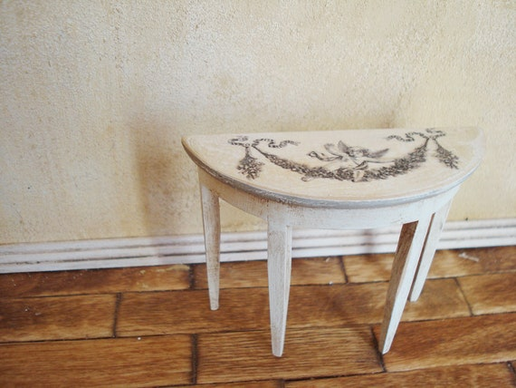 Dollhouse Miniature Half Round Hall Table Model for 1:12 Scale Furniture Gift SG