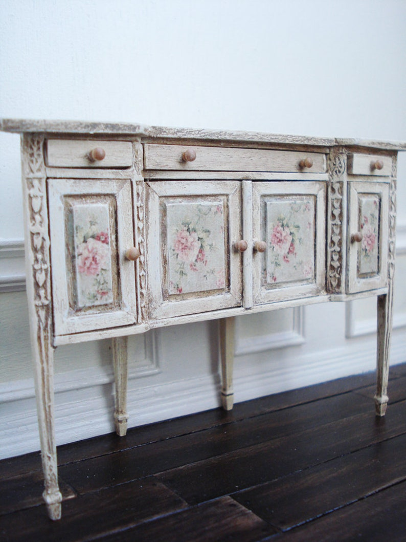 Miniature Dollhouse wood corner buffet with drawers and cupboards Decoupage front 1:12 Scale