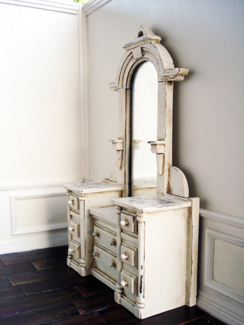 Miniature Dollhouse chest of drawers with framed genuine mirror decoupage top Bedroom dresser