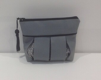 Bag, clutch bag faux leather grey