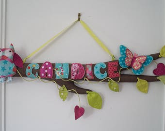 door plate branch personalized with name on request (ex: Candice)