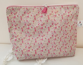 Soft cotton toiletry kit, custom name liberty Betsy pink blotter