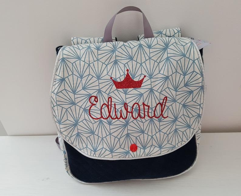 Satchel backpack personalized nursery or kindergarten blue origami