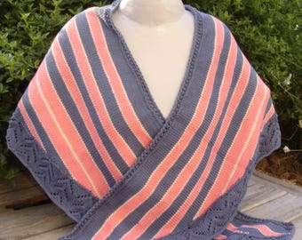 coral pink and blue striped shawl