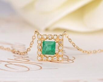 Emerald Necklace Princess Cut Charm Necklace Gold Diamond Birthstone Pendant Halo Square Unique Delicate Anniversary Chain Necklace Her Gift