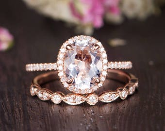 b513c9d2da2e3d Rose Gold Engagement Ring Set Birthstone Oval Cut White Topaz Ring Bridal  Half Eternity Diamond Antique Anniversary Women Wedding Band 2pcs
