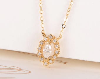 a6e1f3c07a438 Yellow Gold Necklace Diamond Marquise Halo Chain Necklace Antique Pendant  Solitaire Retro Anniversary Promise Gift