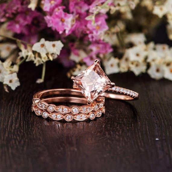 Princess Cut Morganite Ring Set Rose Gold Engagement Ring Art Etsy