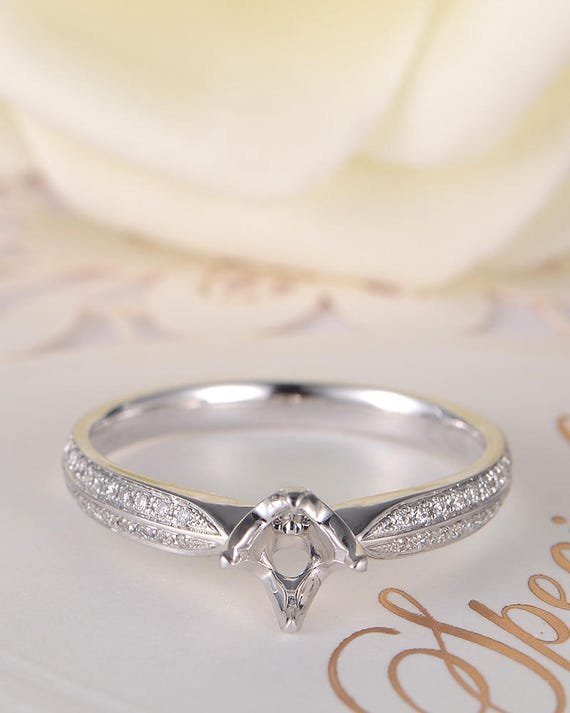 14K White Gold Setting Semi Mount Pinch Top Cathedral Engagement Ring Solitaire