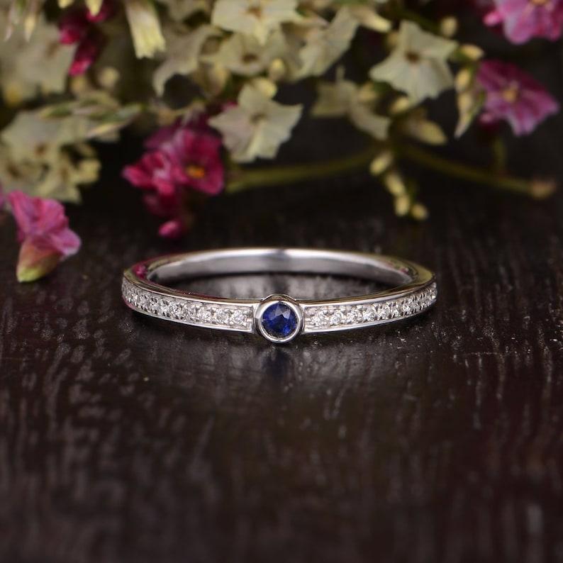b1a54b2aeb5e8 Women Wedding Band White Gold Ring Diamond Paved Banf Antique Stacking  Retro Ring Promise Anniversary Gift Bezel Set Sapphire Half Etenity