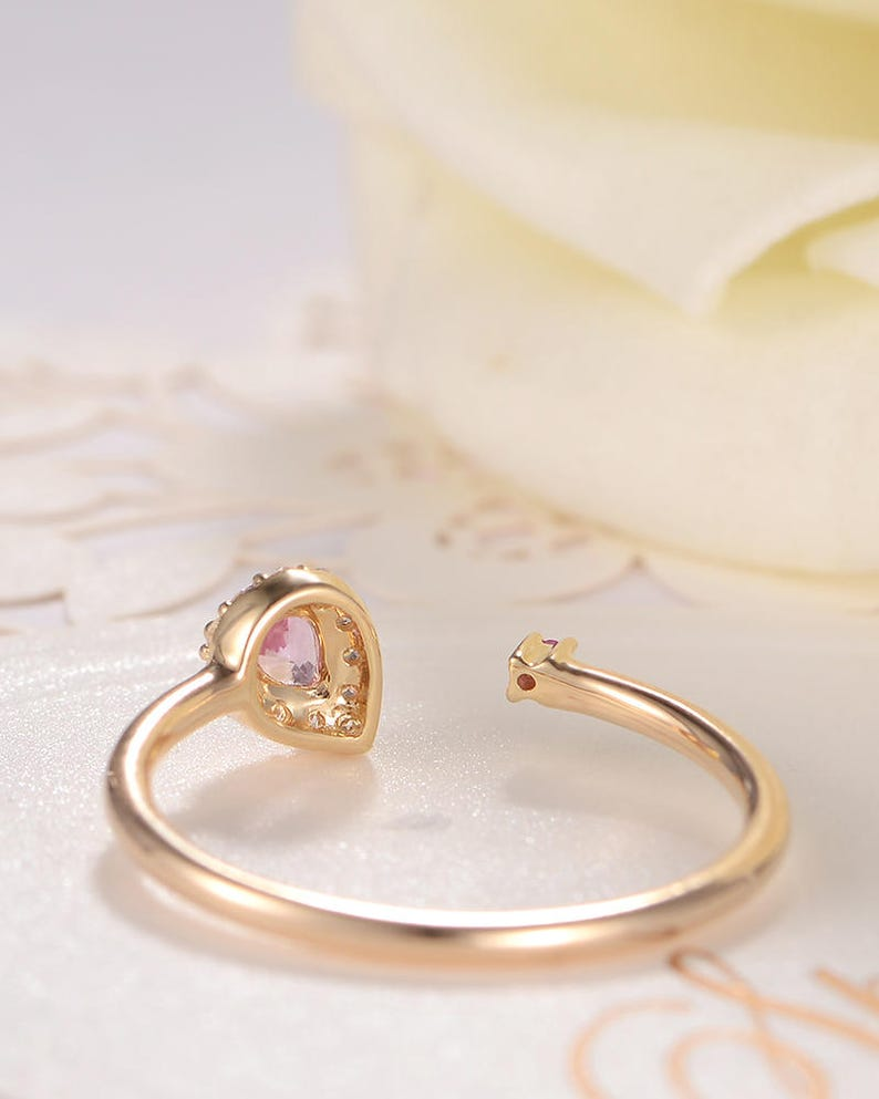 Adjustable Ring Pink Sapphire Pear Cut Yellow Gold Diamond  Halo Open Band  Solitaire Engagement Ring September Birthstone Cuff Gift Ring