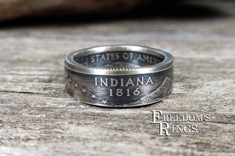 Indiana 2002 Statehood Series 90/% Silver Proof Size 7 14 Coin Ring