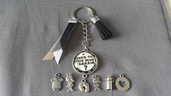 """Porte clés """"veux tu être mon parrain """" by lolaclarabijoux"""