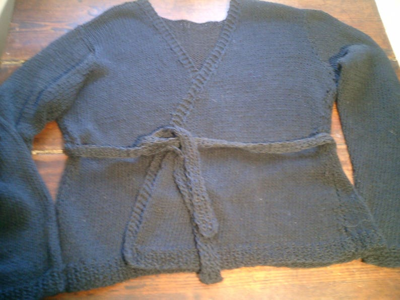 crossover Cardigan hand knitted in linen cotton size and color to the choix/_vegan bio/_