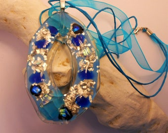 Choker Necklace blue and silver glass fusing
