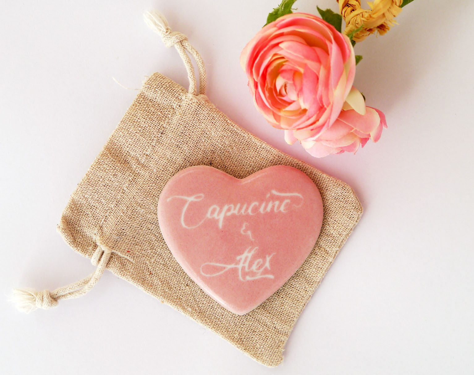 Personalized Wedding Couple name hand painted porcelain heart