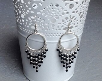 Creole earrings black and silver