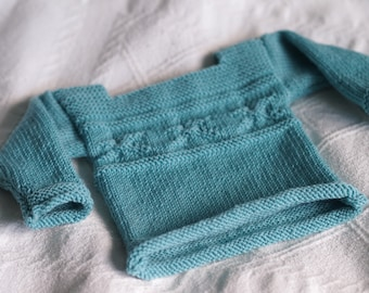 Blue Baby's Jumper with Starfish pattern in organic cotton