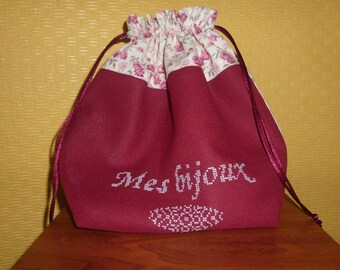 embroidered Red Cross stitch and beige purse jewelry