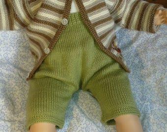 6417488042b0 PANTALON SHORT bébé 3 mois LAINE vert tricot fait main