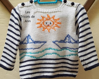 a157e4dea471a Pull bébé tricot main