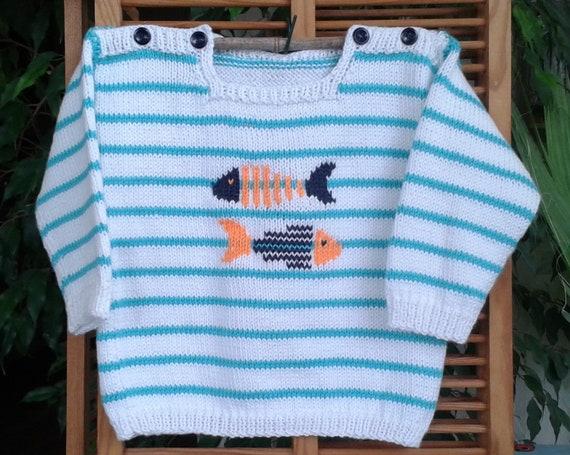 c9767542dfe4 Bonnet bébé enfant tricot 100 % fait main en France rayé marine et blanc  matelot laine toutes tailles possibles