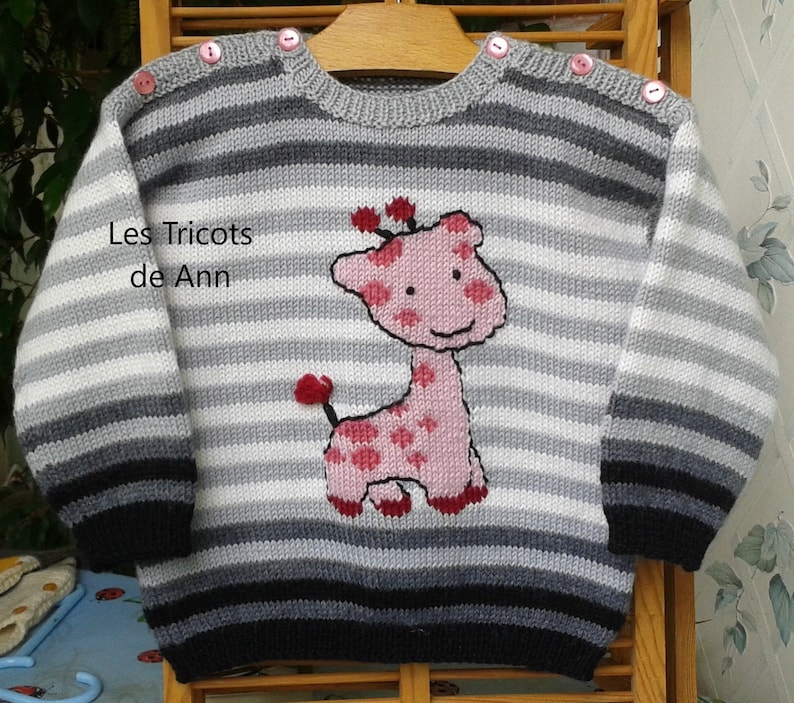 Baby Girl 2 Years Wool Knit Sweater Pattern Giraffe Birthday