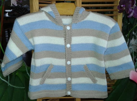 bf7dfbc9034a Life jacket baby boy 12 month HOODIE wool striped beige blue