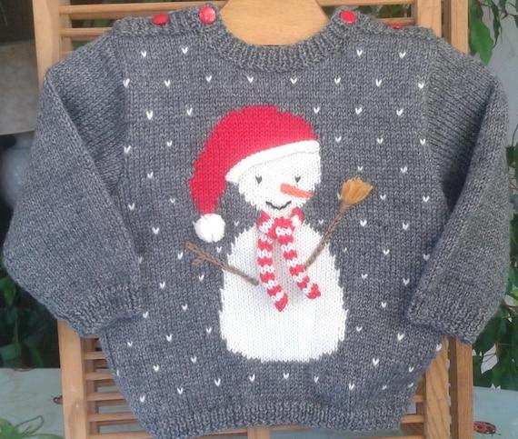 PULL BEBE tricot fait main en laine gris avec un bonhomme ...