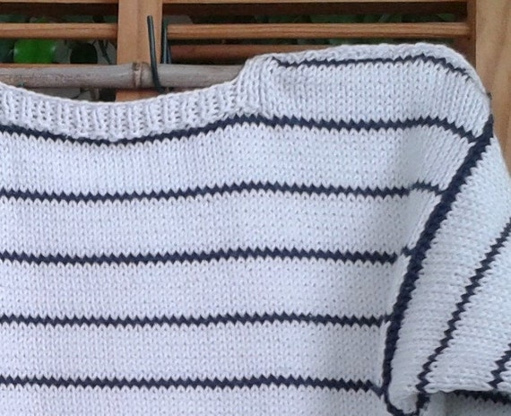Baumwolle Pullover für Baby 2 Jahre handgemachte stricken, Marine Stil, Marine gestreift Ecru Surf Weihnachtsmuster