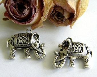 X 2 color filigree elephant charm silver dimension: 22 X 17 mm