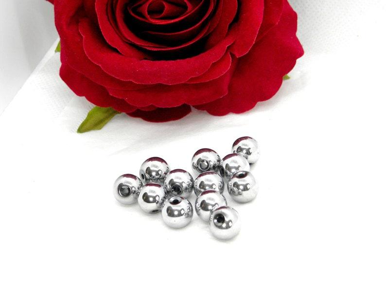 Hematite pearls Pearl hematite round bead silver round hematite hematite bead hematite silver Round hematite