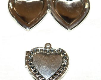 1 Heart Locket necklace silver 20 X 20 mm