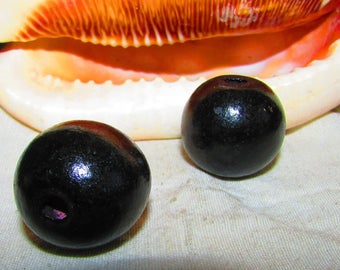 Large 30 mm round black wooden beads