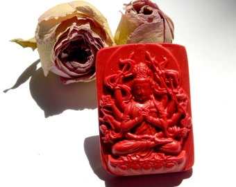 Natural plate depicting Shiva red cinnabar pendant amulet