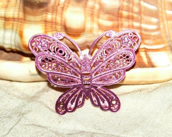 Engraving X 1 metal filigree Butterfly painted rose 45 mm!