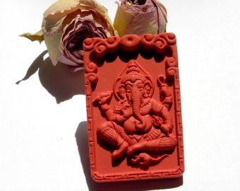 Natural plate depicting Ganesh red cinnabar pendant amulet