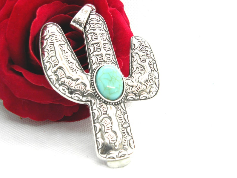 tree of Mexico, synthetic turquoise antique silver pendant tree CACTUS of America Pendant etnick Cactus